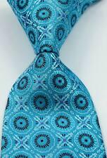 New Classic Florals Turquoise Brown Pink JACQUARD WOVEN Silk Men's Tie Necktie