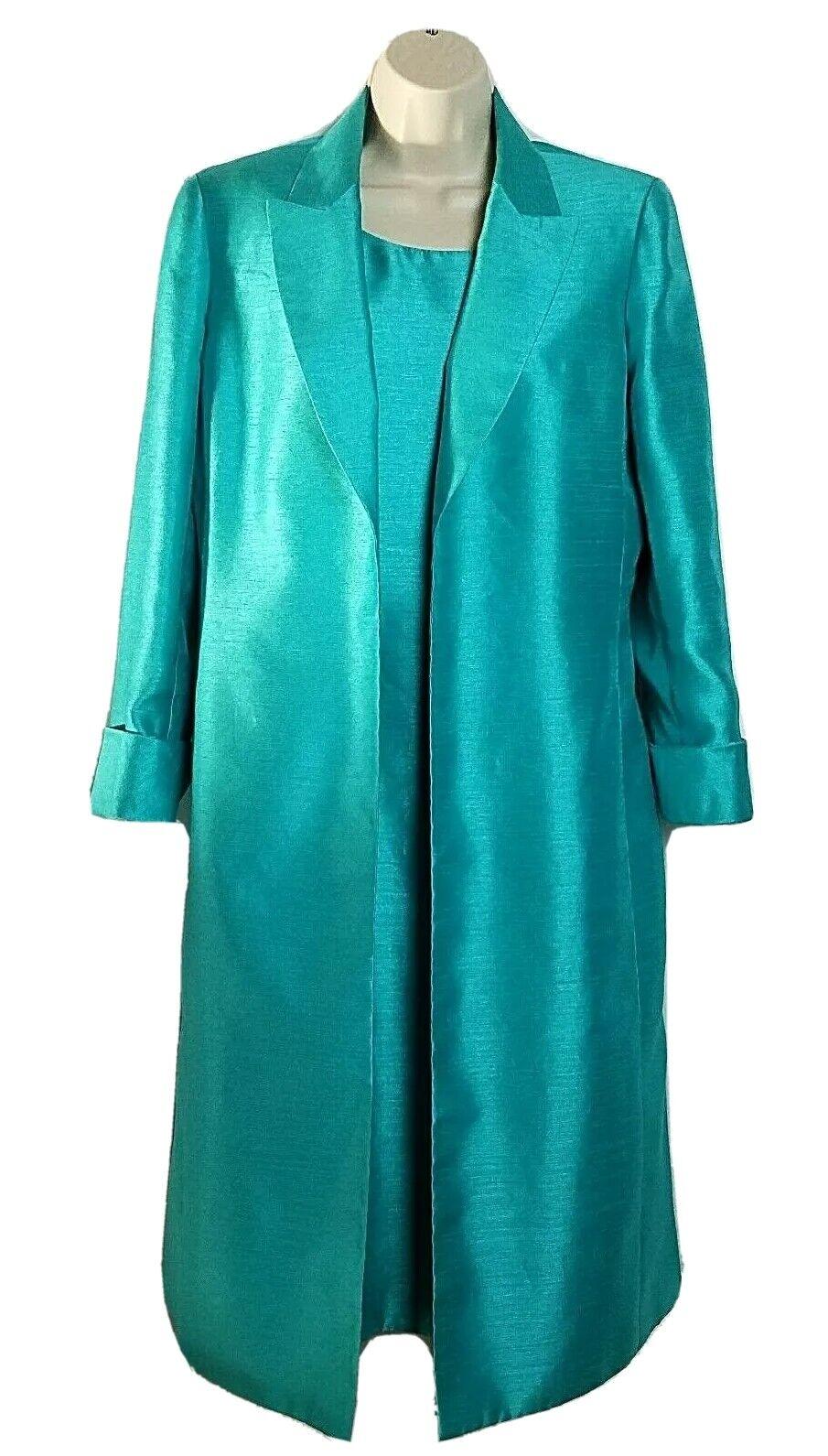 Suit Studio Womens Dress & Jacket 8 Teal / Turquoise Formal Evening Wear 2 Piece