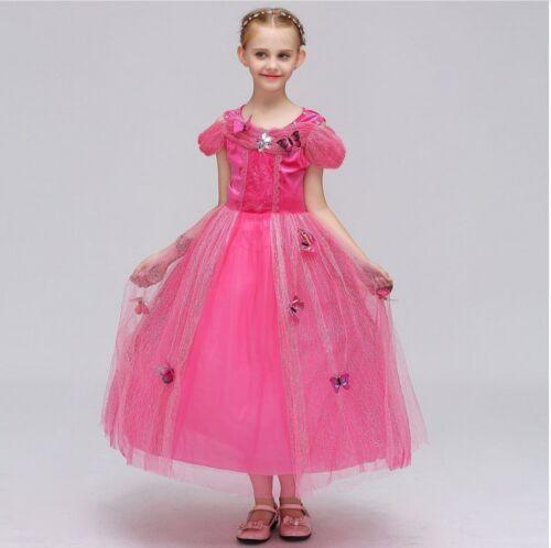 Children Aurora Cosplay Costume Princess Butterfly Kids Girls Party Fancy Dress