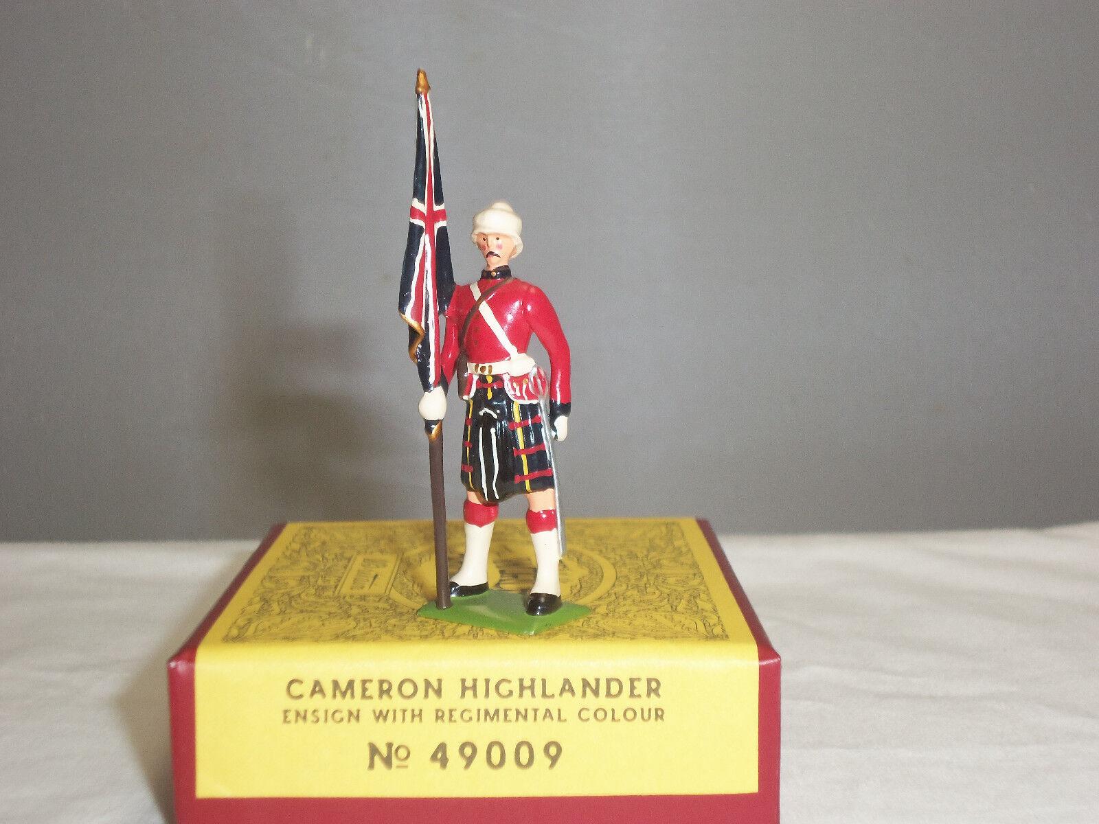 BRITAINS 49009 BRITISH CAMERON HIGHLANDER ENSIGN REGIMENTAL COLOUR TOY SOLDIER
