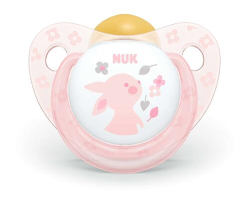 Pack of 2 NUK Rose and Blue Coloured Latex Soothers Stage 1 Orthodontic