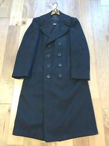 WWII-era-USN-US-Navy-BLACK-wool-Bridge-Pea-Overcoat-Coat-KENNEDYS-37-Regular