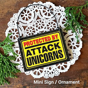 DECO-Mini-Sign-PROTECTED-BY-ATTACK-UNICORNS-Plaque-Wood-Ornament-New-In-Pkg-USA