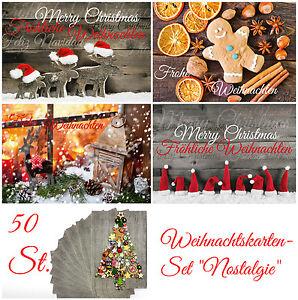 Nostalgisches-Weihnachtskarten-Set-50-St-034-NOSTALGIE-II-034-5-Motive-x-10-St