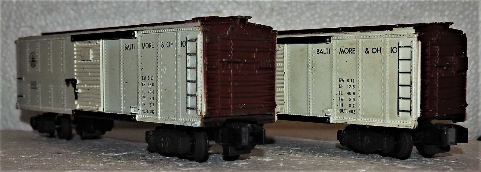 Two American Flyer B&O Baltimore & Ohio Boxcars