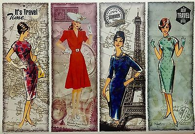 Vintage Travel Time Design Decoupage Craft Paper - 4 Designs On 1 Paper