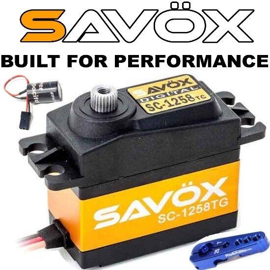 Mega Combo - Savox SC-1258TG Servo + Glitch Buster + Aluminun Bocina