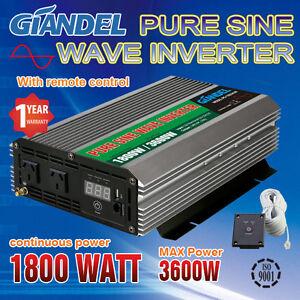 GIANDEL-Power-Inverter-1800W-3600W-12V-240V-4-5m-Long-Remote-USA-Transistors