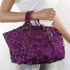New Coach Ashley Op Art Dotted Shoulder Bag Hand Bag F20027 & Wallet Berry RARE