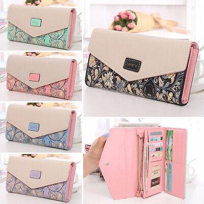Fashion Women Leather Wallet Flower Envelope Purse Card Holder Bag Long Handbag