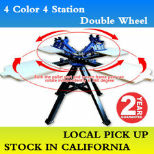 4 Color 4 Station Double Wheel Silk Screen Printing Equipment Local Pickup