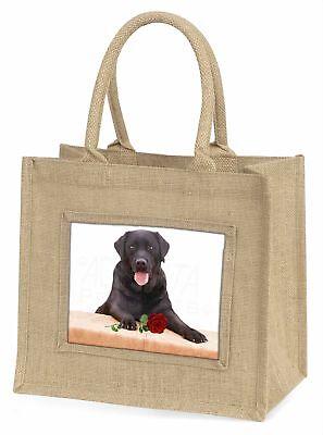 Schwarzer Labrador mit rotem Rose Große natürliche jute-einkaufstasche