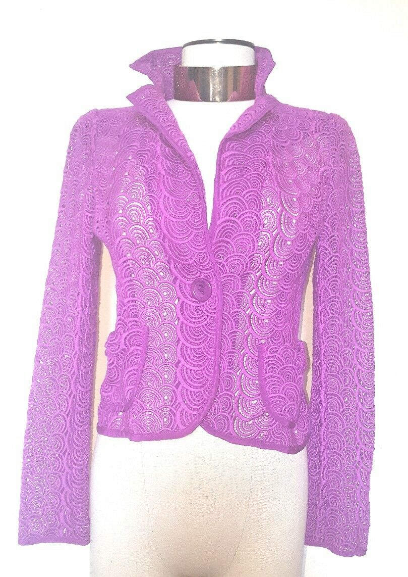 Nanette Lepore Purple See Through Detailed Blazer Size 4