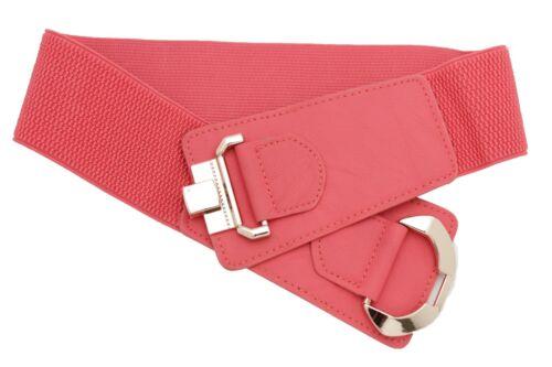 Women Coral Faux Leather Stretch Fashion Belt Hip High Waist Gold Buckle M L XL