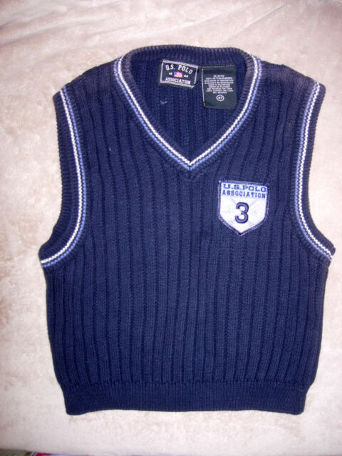 868c622db 4T boys navy blue cotton V-neck pullover sweater vest by US POLO ...