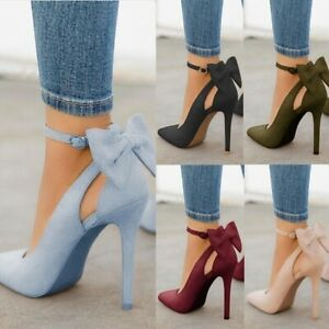 Women-High-Heels-Pointed-Toe-Sandals-Ankle-Strap-Bow-knot-Stiletto-Shoes