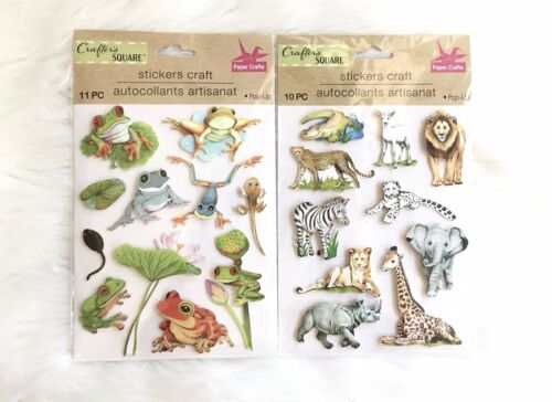 NEW Crafter/'s Square 21 Pop-Up Craft Stickers Animals Tree Frogs Zoo Park Pond