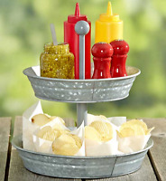 Party Serving Trays And Platters Cupcake Tower Galvanized Double Buffet Server