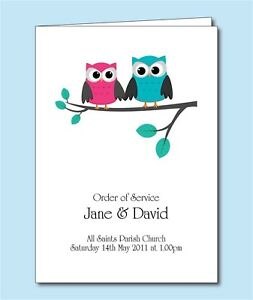 Personalised-Wedding-Order-of-Service-Cover-or-Booklet-Owl-Bride-and-Groom-D035