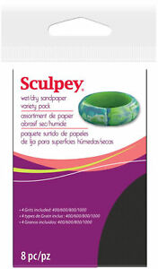 Sculpey-Wet-Dry-Sandpaper-Variety-Pack-4-Grits-400-600-800-1000-Polymer-Clay