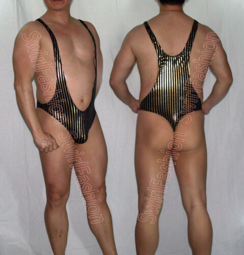 G3394 Mens Thong Bodysuit Stretch Swimsuit Tricot Onesie Leopard//zebra...