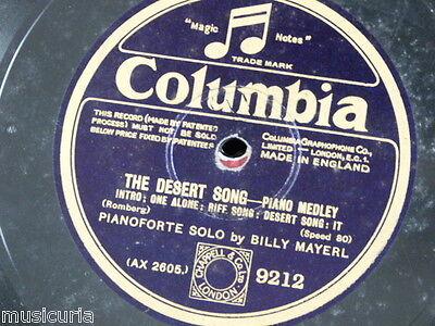 "78rpm 12"" BILLY MAYERL desert song medley / COLUMBIA LIGHT ORCH vocal gems 9212"