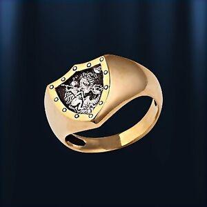 Heilige-Georg-Schutzring-Russische-Herrenring-RING-aus-vergoldetem-Silber-925