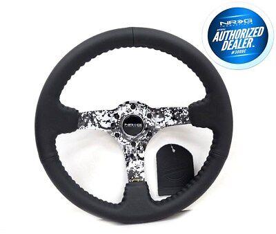 NRG Deep Disc Steering Wheel 350mm Black Leather Black Stitching RST-036DC-R