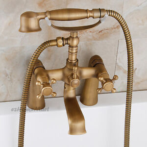 Deck Mounted Antique Brass Dual Handle Bathtub Faucet Handheld
