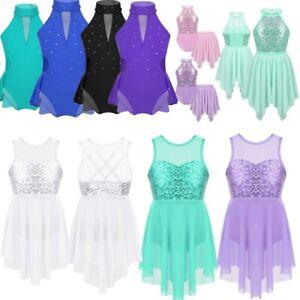 Kids-Girls-Lyrical-Ballet-Dance-Leotards-Dress-Sequined-Latin-Dancewear-Costume