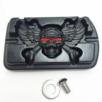 Wing Skull Zombie Emblem Black For Harley Touring Softail Brake Pedal Large Pad