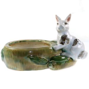 Porcelain-White-Rabbit-Bunny-Carrot-Patch-Planter-Hand-Painted-Vintage