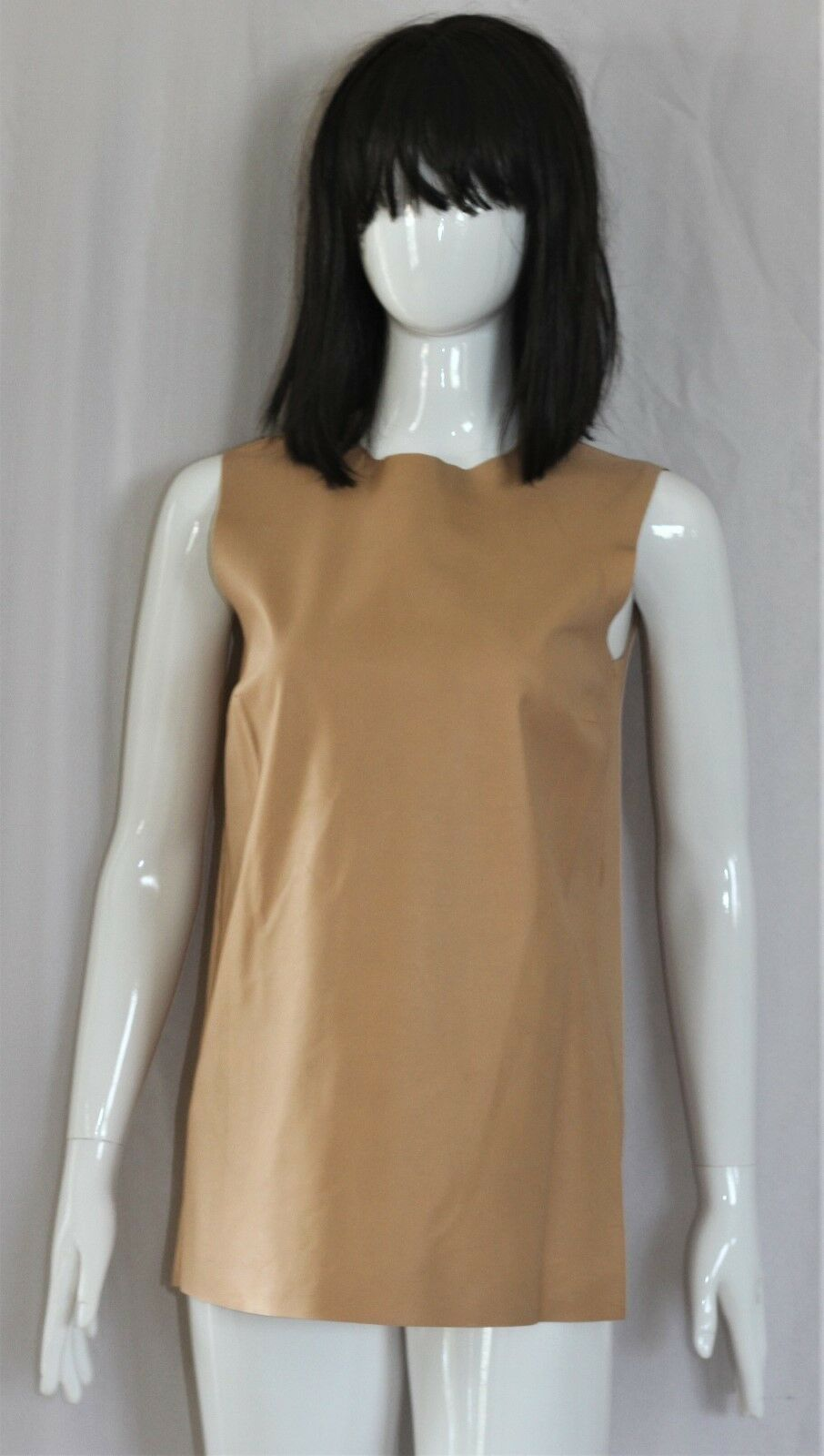 NEW PRADA  Beige Nappa Leather Sleeveless Top Shirt Blouse 40 4 6