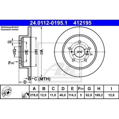 2x Bremsscheibe Bremse NEU ATE 24.0112-0195.1