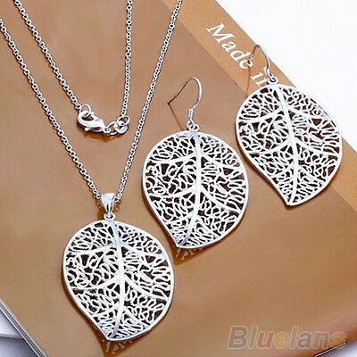 Fantastic Lady's Silver Plated Leaf Style Earrrings Chain Set Necklace Jewelry