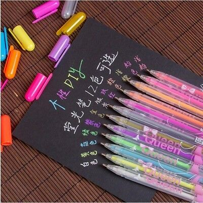 Gel Pen Watercolor Metallic Pastel Neon Glitter Drawing Art Marker Pens 12Pcs