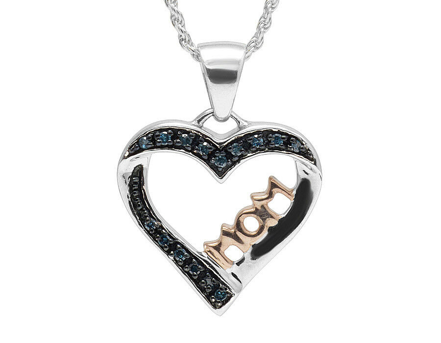 Ladies Two-Tone gold Finish MOM Heart Real bluee Diamond Pendant 0.15 ct