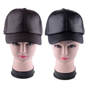 a5b7eda44af Men s Full Grain Leather Hat Winter Warm Sheepskin Baseball Cap Hats ...