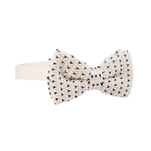 Vintage Tweed Classic Skinny 100/% Knitted Soft Wool Neck Bow Tie Cream Polka Dot