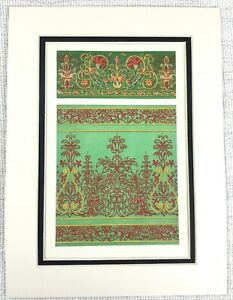 1857-Antique-Print-Italian-14th-Century-Woven-Silk-Textiles-Tapestry-Embroidery