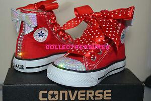 a927883c9c132 Custom Crystal Diamante Bling Converse Red Hi Top UK Infant 2 3 4 5 ...