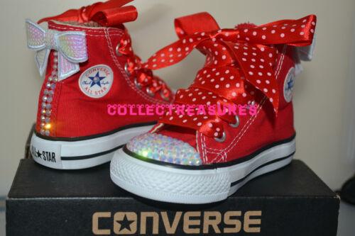 Custom Crystal Diamante Bling Converse Red Hi Top UK Infant 2 3 4 5 6 7 8 9 10