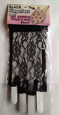 NEW BLACK LACE SHORT FINGERLESS GLOVES - 80's FRENCH MAID
