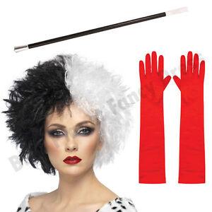 cruella deville de ville fancy dress costume wig cigarette. Black Bedroom Furniture Sets. Home Design Ideas