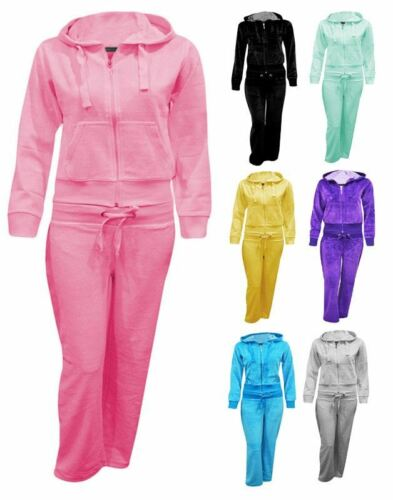 Kids Girls Hooded Velour Pocket Zip Plus Size Active Sweatpants Tracksuit