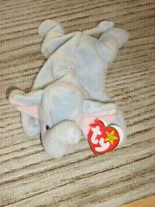 Ty Beanie Baby PEANUT light blue elephant 1-25-95 Rare retired Tag errors MINT