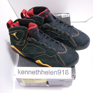 4ecfa6da054 NEW 2006 NIKE AIR JORDAN VII 7 RETRO BLACK/CITRUS-VARSITY RED MENS ...