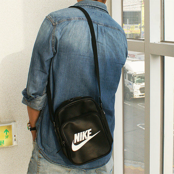 c313b73b82ad Nike Heritage Small Shoulder Bag Messenger Flight Black Handbag Leather for  sale online