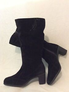 Footglove-Wider-Fit-Black-Mid-Calf-Suede-Boots-Size-5-5