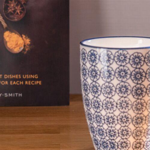 Blue Print Tea Coffee Mug Patterned Porcelain Restaurant Cups 360ml